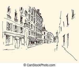 vendange, rues, paris, main, france, dessiné