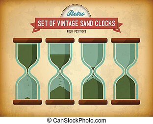 vendange, sable, clocks, ensemble