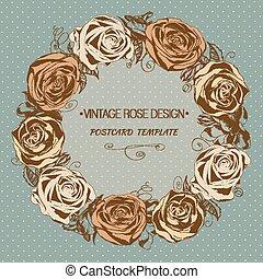 vendange, salutation, wreath., arrière-plan., vecteur, rose, floral, carte