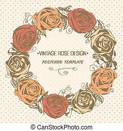 vendange, salutation, wreath., vecteur, rose, carte