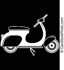 vendange, scooter, 2, noir, type