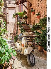 vendange, scooter, sur, les, beau, porche, dans, italie