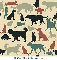 vendange, seamless, silhouettes, chats, fond, chiens