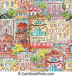 vendange, seamless, texture, aquarelle, cityscape., painting.