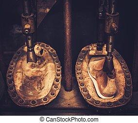 vendange, semelle intérieure, chaussure, former, press.