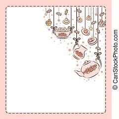 vendange, service thé, et, doux, cakes.