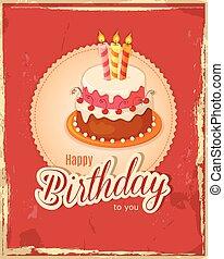 vendange, serviette, gâteau, carte anniversaire, gradin, rouges