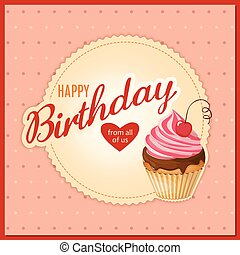 vendange, serviette, petit gâteau, anniversaire, cerise, carte
