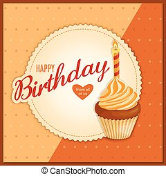 vendange, serviette, petit gâteau, anniversaire, orange, carte