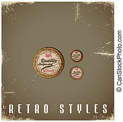 vendange, set., étiquettes, conception, retro, gabarit, logo