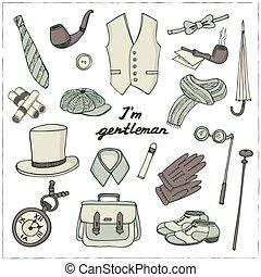 vendange, set., accessoires, gentlemans, griffonnage