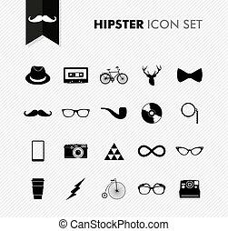vendange, set., isolé, hipster, noir, icône