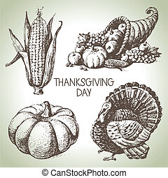 vendange, set., thanksgiving, main, illustrations, dessiné, ...