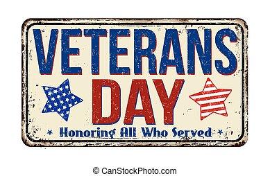 vendange, signe, métal, jour, vétérans