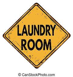 vendange, signe, métal, salle, lessive