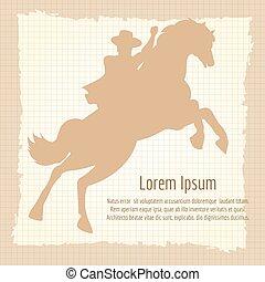 vendange, silhouette, conception, cow-boy, affiche