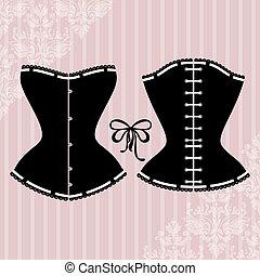 vendange, silhouette, corset