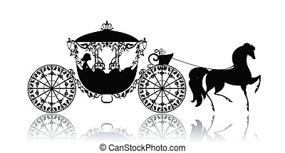 vendange, silhouette, de, a, cheval, voiture