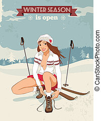 vendange, skis, girl, affiche, épingle-augmentez