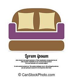 vendange, sofa., brun