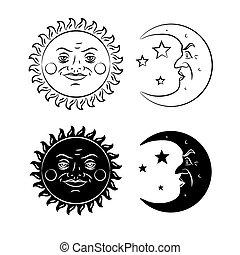 vendange, soleil, main, dessiné, lune