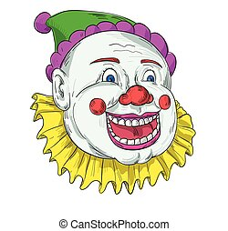 vendange, sourire, cirque, dessin, clown