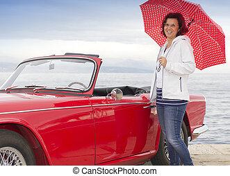 vendange, sourire, dame, voiture, suivant