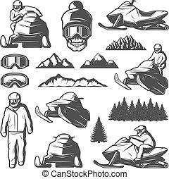 vendange, sport, éléments, hiver, collection