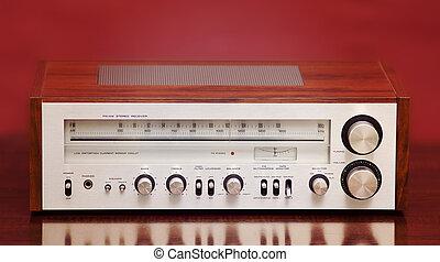 vendange, stéréo, radio, récepteur