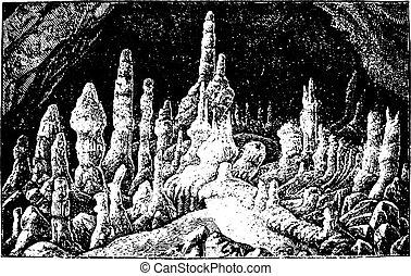 vendange, stalagmites, engraving.