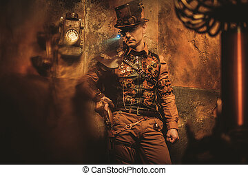 vendange, steampunk, appareils, divers, fond, mécanique, portrait, homme