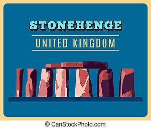 vendange, stonehenge, vecteur, poster., illustration