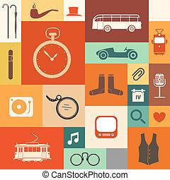 vendange, style, carrés, icônes
