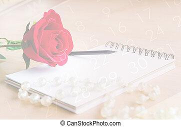 vendange, style, de, rose rouge, et, agenda, faner, sur, calendrier