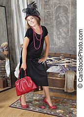 vendange, style, girl, à, rouges, sac main