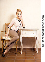 vendange, style., girl, séance, à, les, retro, desk.