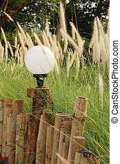 vendange, style, jardin, lampe