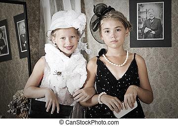 vendange, style, portrait, de, enfants