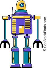 vendange, style, robot jouet, coloré