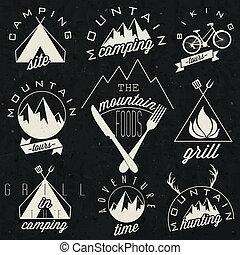 vendange, style, symboles, pour, montagne