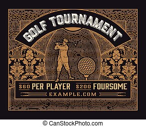 vendange, style, tournoi, golf, template.