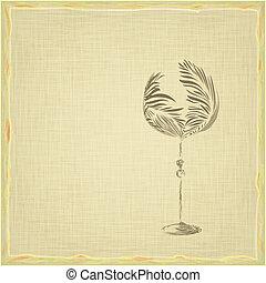 vendange, style, vieux, carte, vin