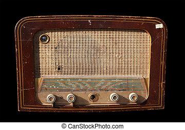 vendange, sur, isolé, radio, fond, noir