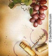 vendange, sur, papier, conception, fond, frontière, vin