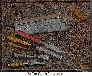 vendange, sur, travail bois, outils, plaque