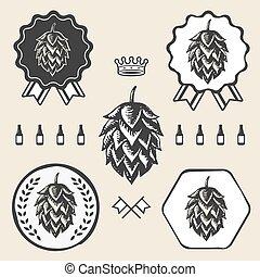 vendange, symbole, étiquette, signe, bière, métier, houblon, élément