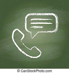 vendange, symbole, blackboard., craie, vert, icône