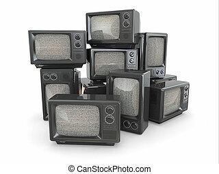 vendange, tã©lã©viseur, tv., fin, tas