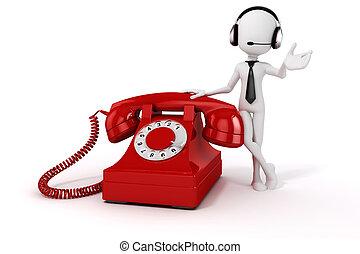 vendange, téléphone, fond, blanc, homme, rouges, 3d