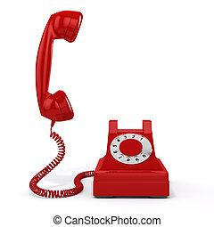 vendange, téléphone, fond, blanc rouge, 3d